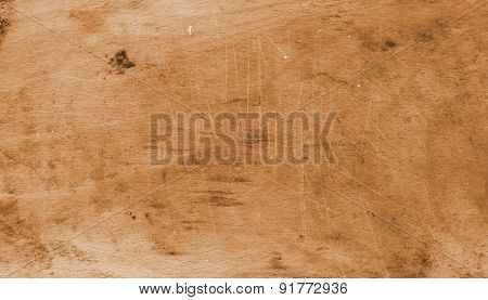 Old Board Background Furrowed With Knife