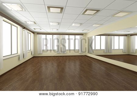 Empty Training Dance-hall With Yellow Walls And Dark Wooden Floor, 3D Illustration