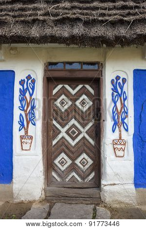 Decorated Door Of The Old Traditional Ukrainian House