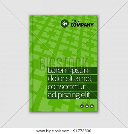 Green business design with headline and pattern background.
