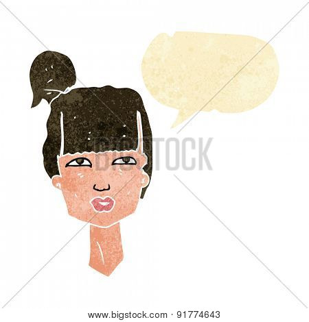 cartoon female head with speech bubble