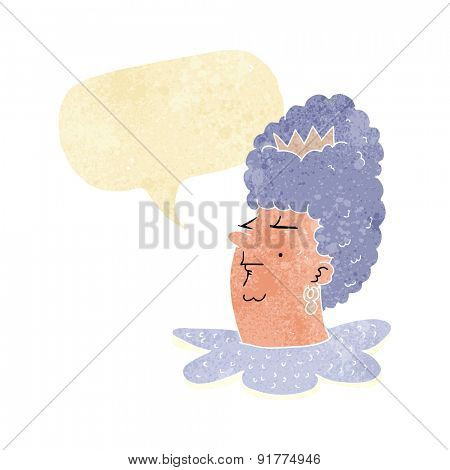 cartoon queen head with speech bubble