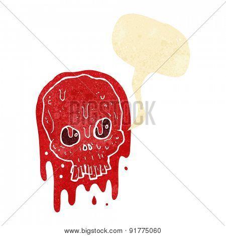 cartoon bloody skull with speech bubble