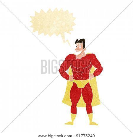 cartoon superhero with speech bubble