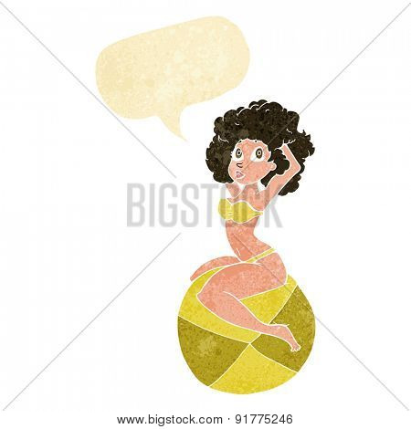 cartoon pin up girl sitting on ball with speech bubble