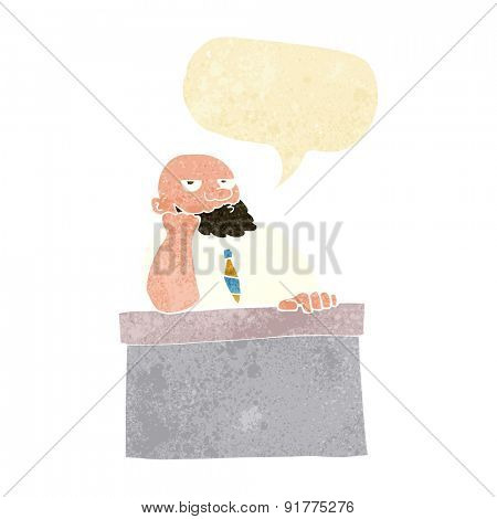 cartoon bored man at desk with speech bubble