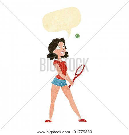 cartoon woman playing tennis with speech bubble