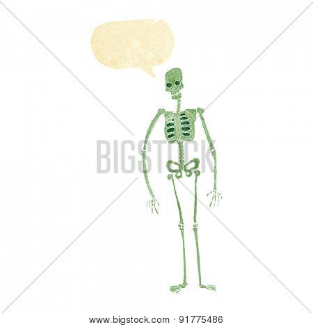 cartoon spooky skeleton with speech bubble