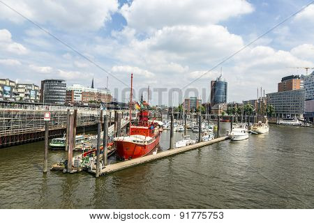 Famous Lightship Lv 13 Serves Nowadays As Restaurant In Hamburg