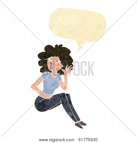 cartoon woman listening with speech bubble