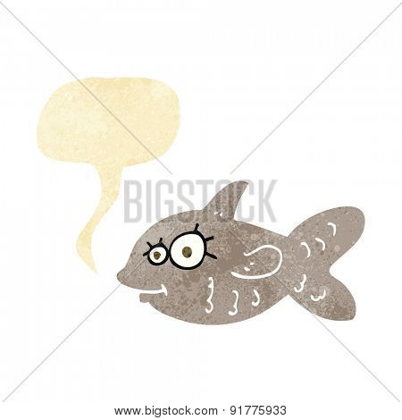 cartoon happy goldfish with speech bubble