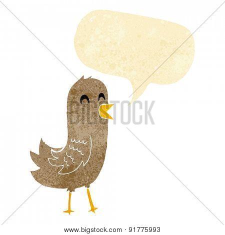cartoon happy bird with speech bubble