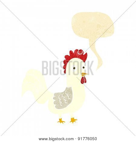cartoon rooster with speech bubble