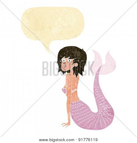 cartoon mermaid with speech bubble