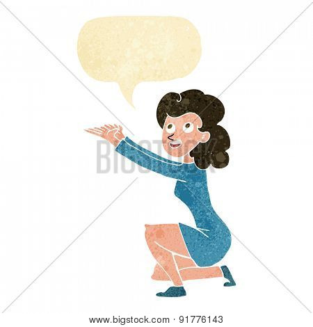 cartoon woman presentation gesture with speech bubble