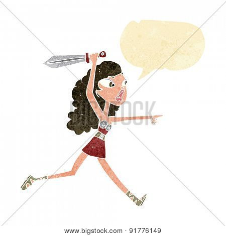 cartoon viking girl with sword with speech bubble
