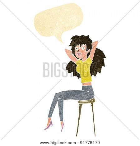 cartoon woman posing on stool with speech bubble