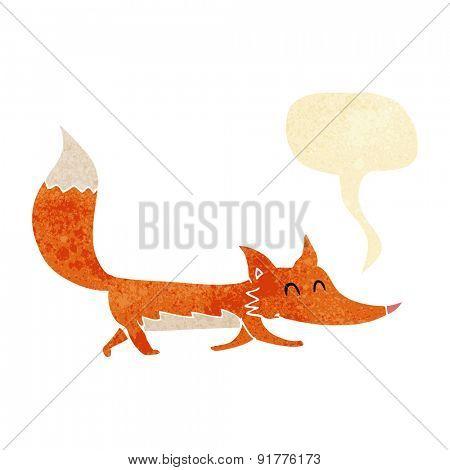 cartoon little fox with speech bubble