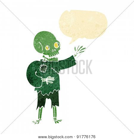 cartoon skeleton waving with speech bubble