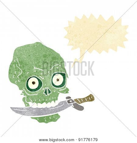 cartoon pirate skull with knife in teeth with speech bubble