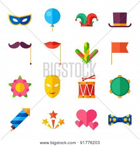 Celebration carnival set of flat icons and objects