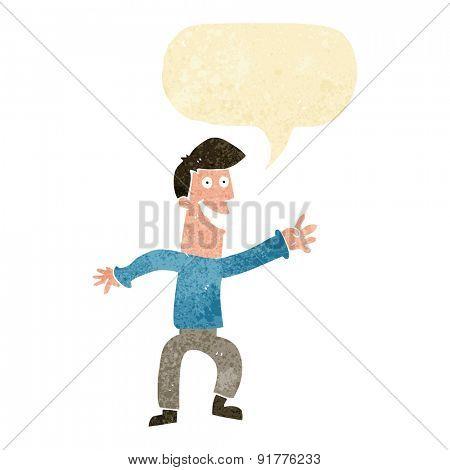 cartoon happy man dancing with speech bubble