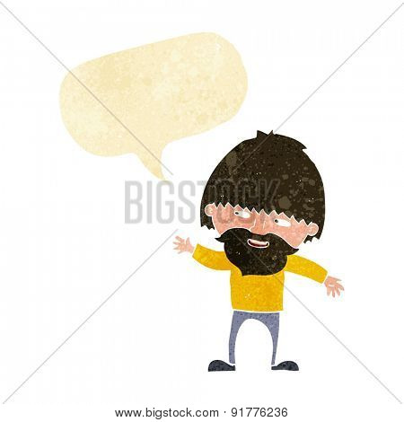 cartoon happy bearded man waving with speech bubble