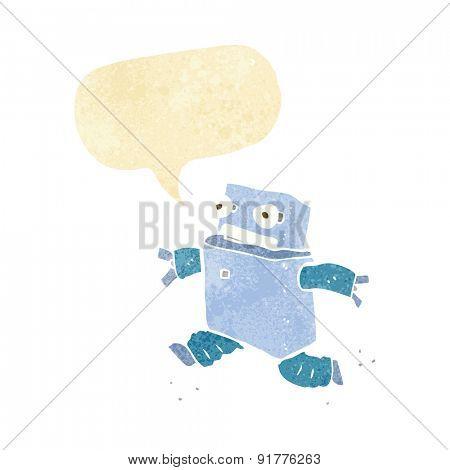cartoon running robot with speech bubble