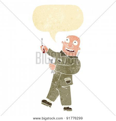 cartoon mechanic with speech bubble