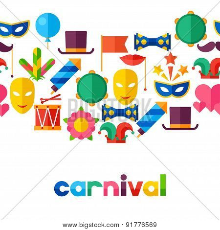 Celebration seamless pattern with carnival flat icons and objects