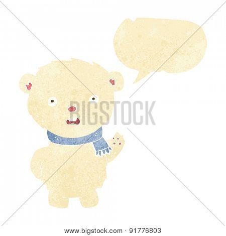 cartoon polar bear wearing scarf with speech bubble