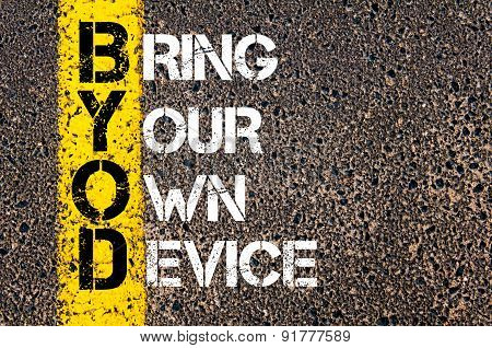 Business Acronym Byod As Bring Your Own Device
