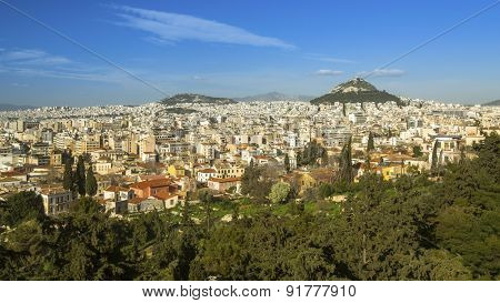 Panorama of the Athens and Lycabettus Hill in Greece.