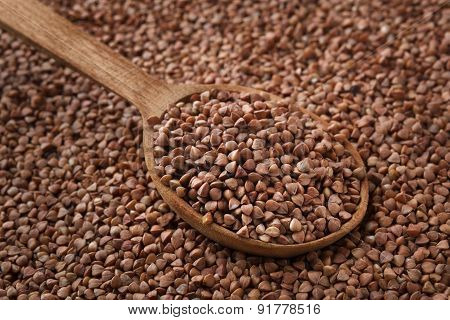 Closeup Of Buckwheat With Wooden Spoon.