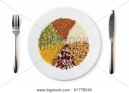 Plate With Different Cereals And Garnish Isolated On White.