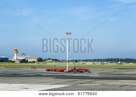 Communication And Light Mast At Apron Of Hamburg Airport