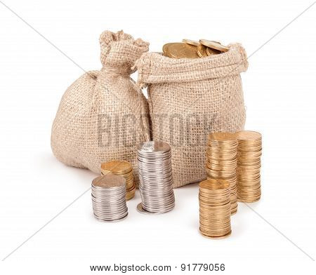 Bags With Coins Isolated On White Background