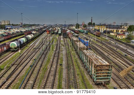 Classification Yard, Freight Train Ready For Departure, Saint Petersburg, Russia.