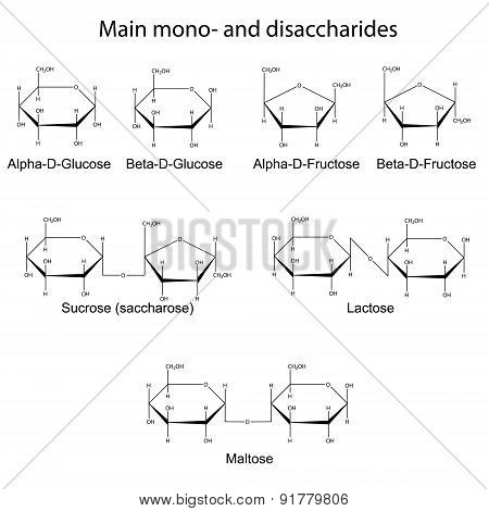 Formulas Of Main Cyclic Monosaccharides And Disaccharides
