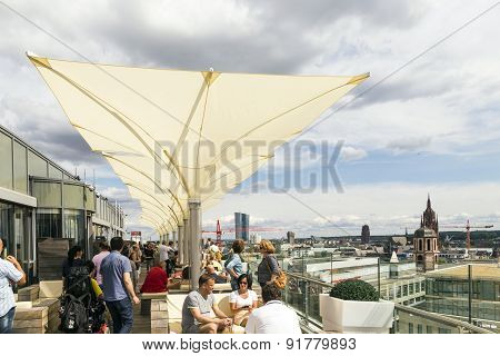 People Enjoy The View From The Panorama Platform To Frankfurt
