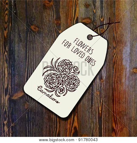 Tag template with bouquet of carnations