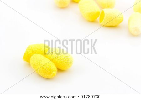 Silkworm Cocoon On White Background.