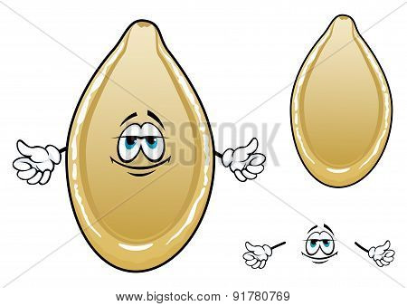 Cartoon yellow pumpkin seed character