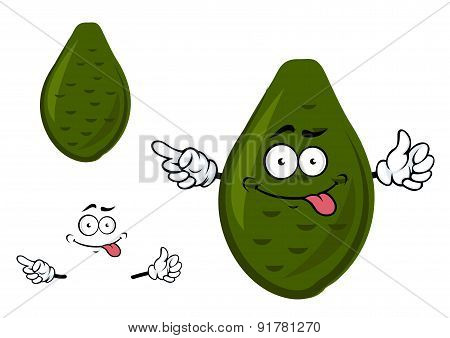 Ripe green avocado fruit cartoon character