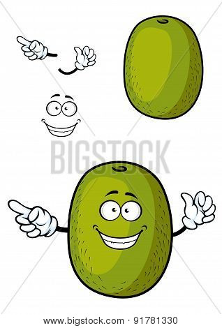 Happy cartoon kiwi fruit character with smile