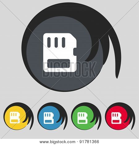 Compact Memory Card Icon Sign. Symbol On Five Colored Buttons. Vector