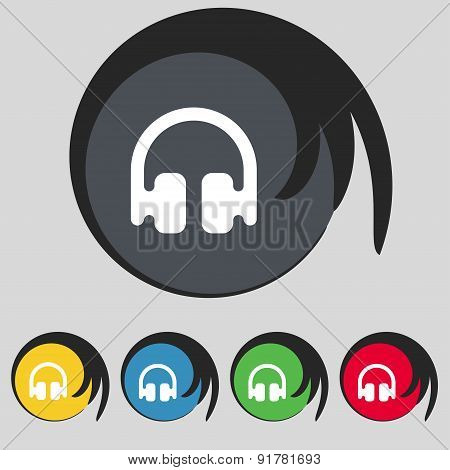 Headphones, Earphones Icon Sign. Symbol On Five Colored Buttons. Vector
