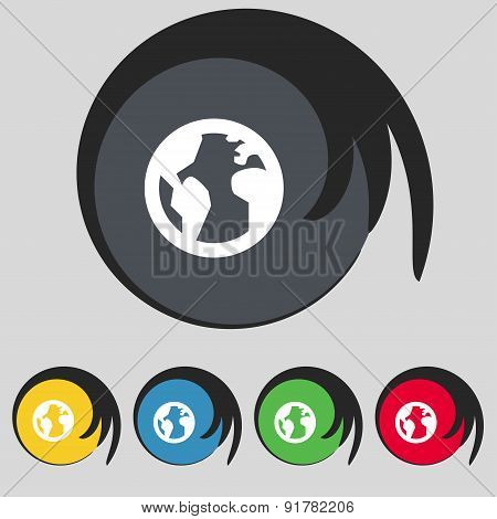 Globe, World Map Geography Icon Sign. Symbol On Five Colored Buttons. Vector