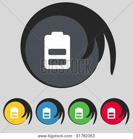 Battery Half Level, Low Electricity Icon Sign. Symbol On Five Colored Buttons. Vector