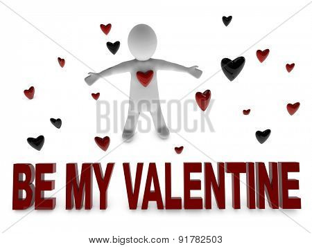 be my valentine 3d person surrounded by heart shapes